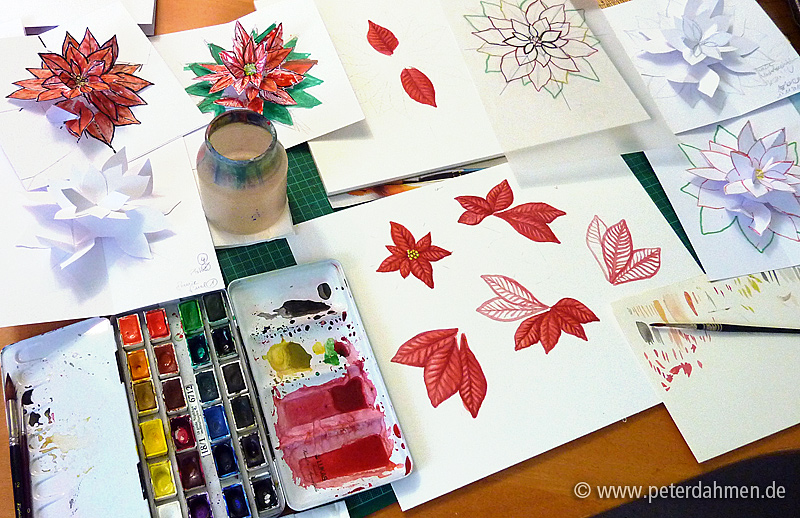Poinsettia Aquarell